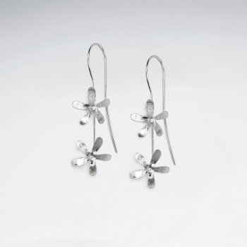 Double Drop Flower Charm Dangle Earrings