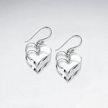 Double Drop Open Hearts Sterling Silver Dangle Earrings