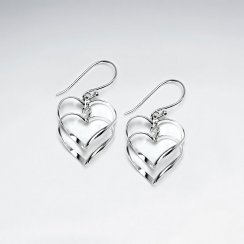 Double Drop Open Hearts Sterling Silver Dangle Earrings