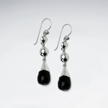 Double Drop Silver Ball & Black Stone Faceted Drop Charm Earrings