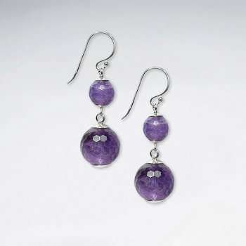 Double Faceted Amethyst Dangling Silver Earring