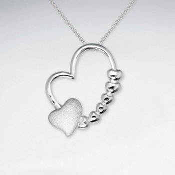 Double Heart Open Design Decorated Silver Pendant