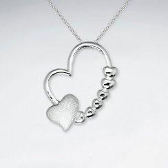 Double Heart Open Design Decorated Silver Pendant