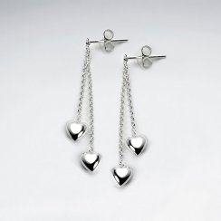 Double Heart Suspended Chain Dangle Earrings