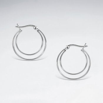 Double Hoop Sterling Silver Earrings
