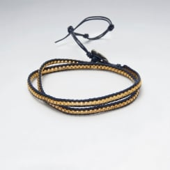 Double Loop Brass Leather Bead Bracelet