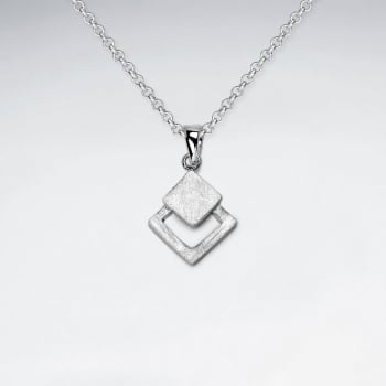 Double Marquis  Sterling Silver Matte Pendant