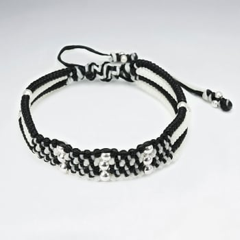 Double Multi Colour Waxed Cotton Silver Studded Wide Bracelet