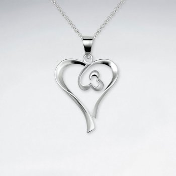 Double Open Heart-in-Heart Silver Pendant