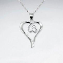 Double Open Heart-in-Heart Silver Pendant