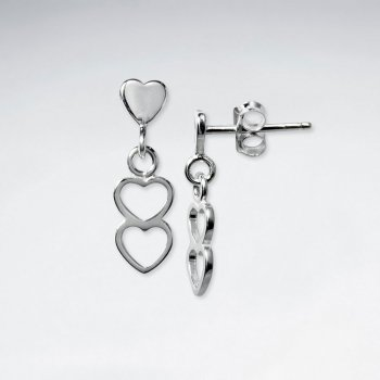 Double Open Heart Tiered Dangle Drop Earrings With Polished Silver Stud