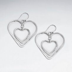 Double Open Heart Tiered Dangle Hook Earrings