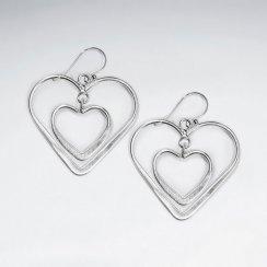 Double Open Heart Tiered Dangle Hook Earrings