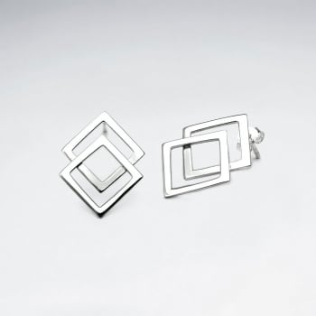 Double Overlapped Diamond Shaped Stud Earrings