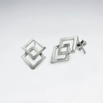 Double Overlapped Double Diamond Shaped Matte Stud Earrings