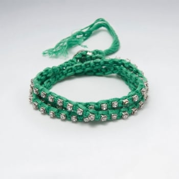 Double Strand Cotton Crystal Bead Bracelet