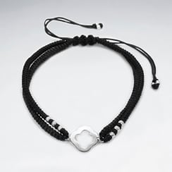 Double Strand Nylon & Waxed Cotton Open Trefoil Bracelet