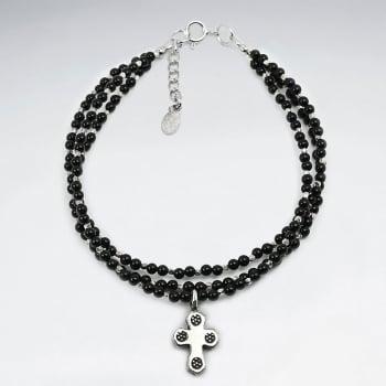 Double Strand Sterling Silver Black Stone Bracelet