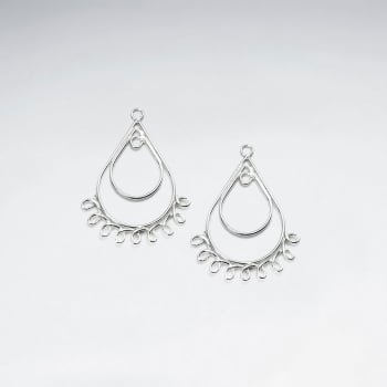 Double Teardrop Decorated Openwork Sterling Silver Earring Accessory Pack Of 10 Pieces