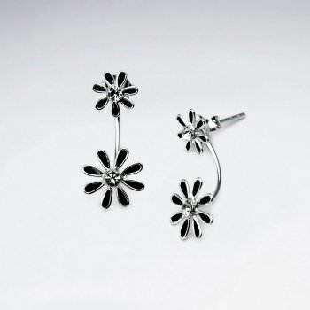 Double Tiered Enameled Sterling Silver Flower Earrings