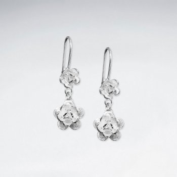 Double Tiered Gradual Size Silver Dangle Drop Blossom Earrings