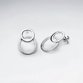Double Tired Interconnected Flat Circles Drop Earrings.