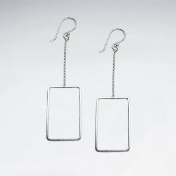 Dramatic Minimalist Sterling Silver Openwork Dangle Earrings