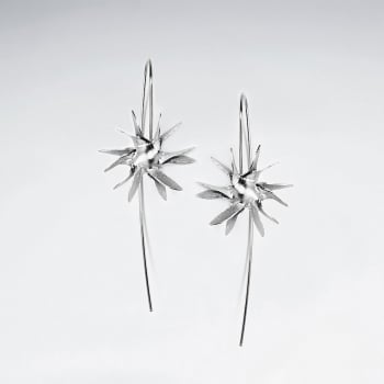Dramatic Spiked Sterling Silver Ball Threader Earrings
