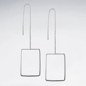 Dramatic Sterling Silver Openwork Rectangle Threader Earrings