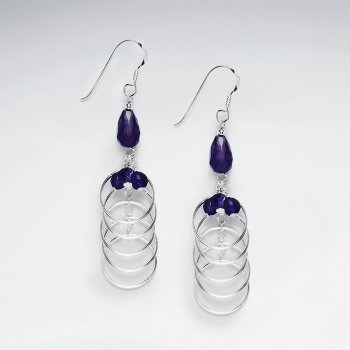 Drop Amethyst Silver Earring With Layered Open Circle