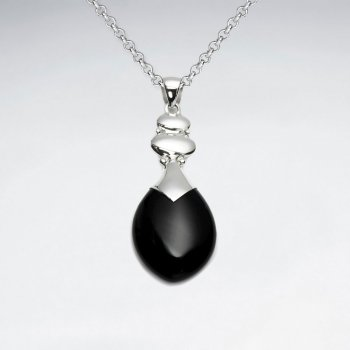 Drop Black Stone Silver Pendant