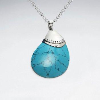 Drop Blue Howlite Silver Pendant
