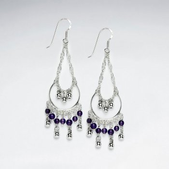 Drop Dangle Chandelier Purple Amethyst Earrings