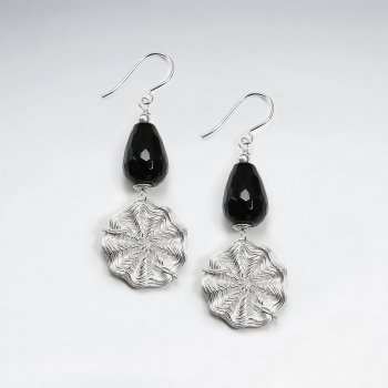 Drop Faceted Black Stone Dangling Earring With Wirework