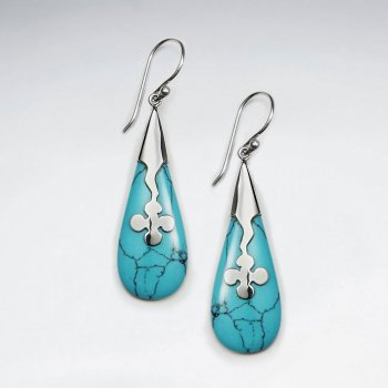 Drop Shape Blue Howlite Silver Earring