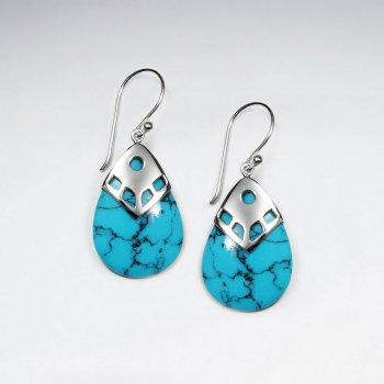 Drop Shape Blue Turquoise Silver Dangling Silver Earring