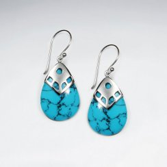 Drop Shape Blue Turquoise Silver Dangling Silver Earring