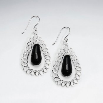 Drop Shape  Wirework Dangling Earring With Black Stone