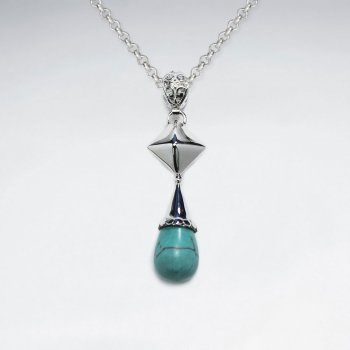 Drop Turquoise Silver Pendant
