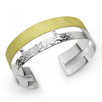 Duel Tone Geometric Textured Hammered Bangle