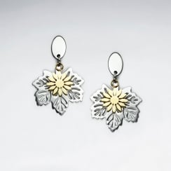 Duel Tone Stainless Steel Leaf Cut Earrings