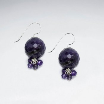Earring With Clustered Dangling Faceted Amethyst