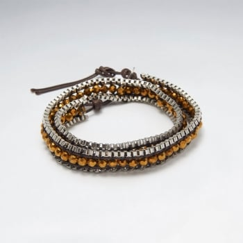 Earthen Tones Beaded Leather Wrap Bracelet