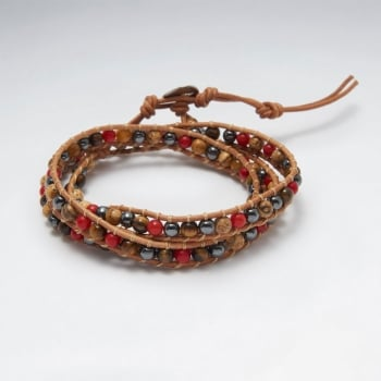 Earthy Multi-Strand Leather Bead Bracelet