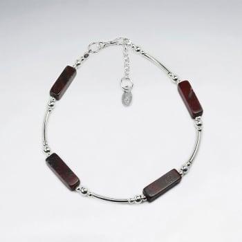 Earthy Rectangle Mahogony Obsidain & Silver Bead Bracelet