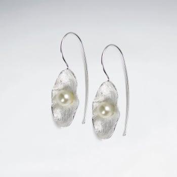 Easy Breezy Elegant 925 Matte Silver Pearl Floral Earrings