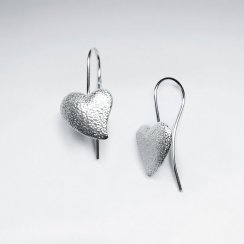 Edgy Brushed Heart Pendant Drop Hook Earrings