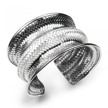 Edgy Curved Basket Weave Bangle