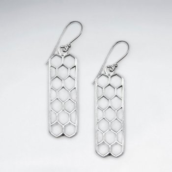 Edgy Modern Dapple Filigree Long Rectangle Drop Hook Earrings