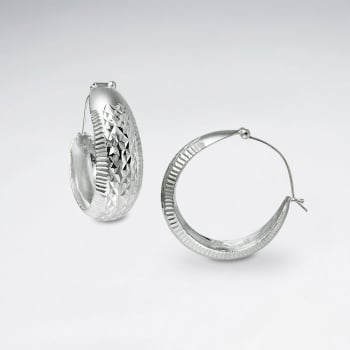 Edgy Texture Patterned Silver Small Gradated Hoop Earrings
